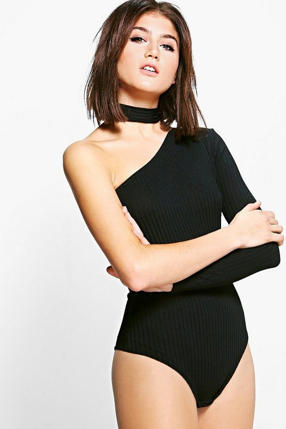 Womens Black Harriet One Shoulder Bodysuit With Choker