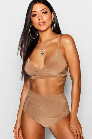 Womens Camel Slinky Triangle Bralet & Hotpant Co-Ord