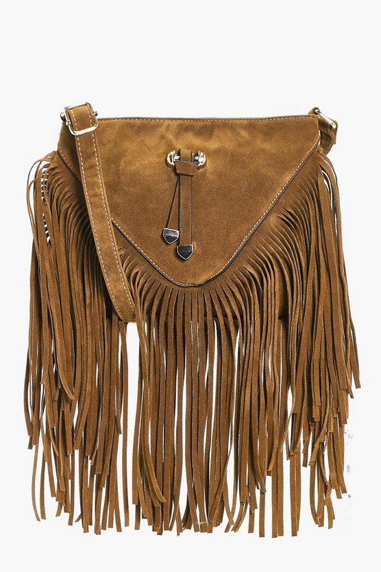 Natalia Fringed Suedette Cross Body Bag