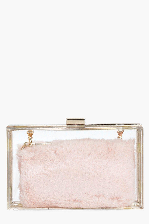 grossiste b310a 99ce7 anya sac pochette avec porte-monnaie transparent en fausse fourrure | Boohoo