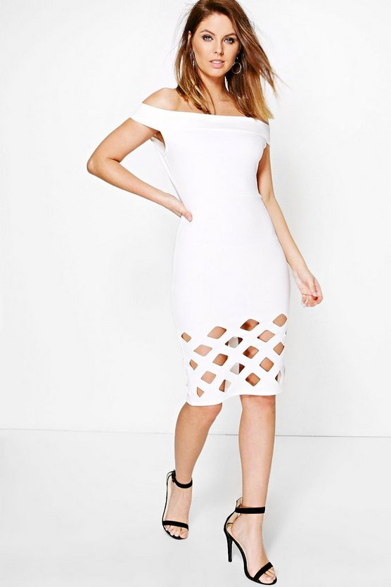 Dulce Lazer Hem Off Shoulder Midi Dress