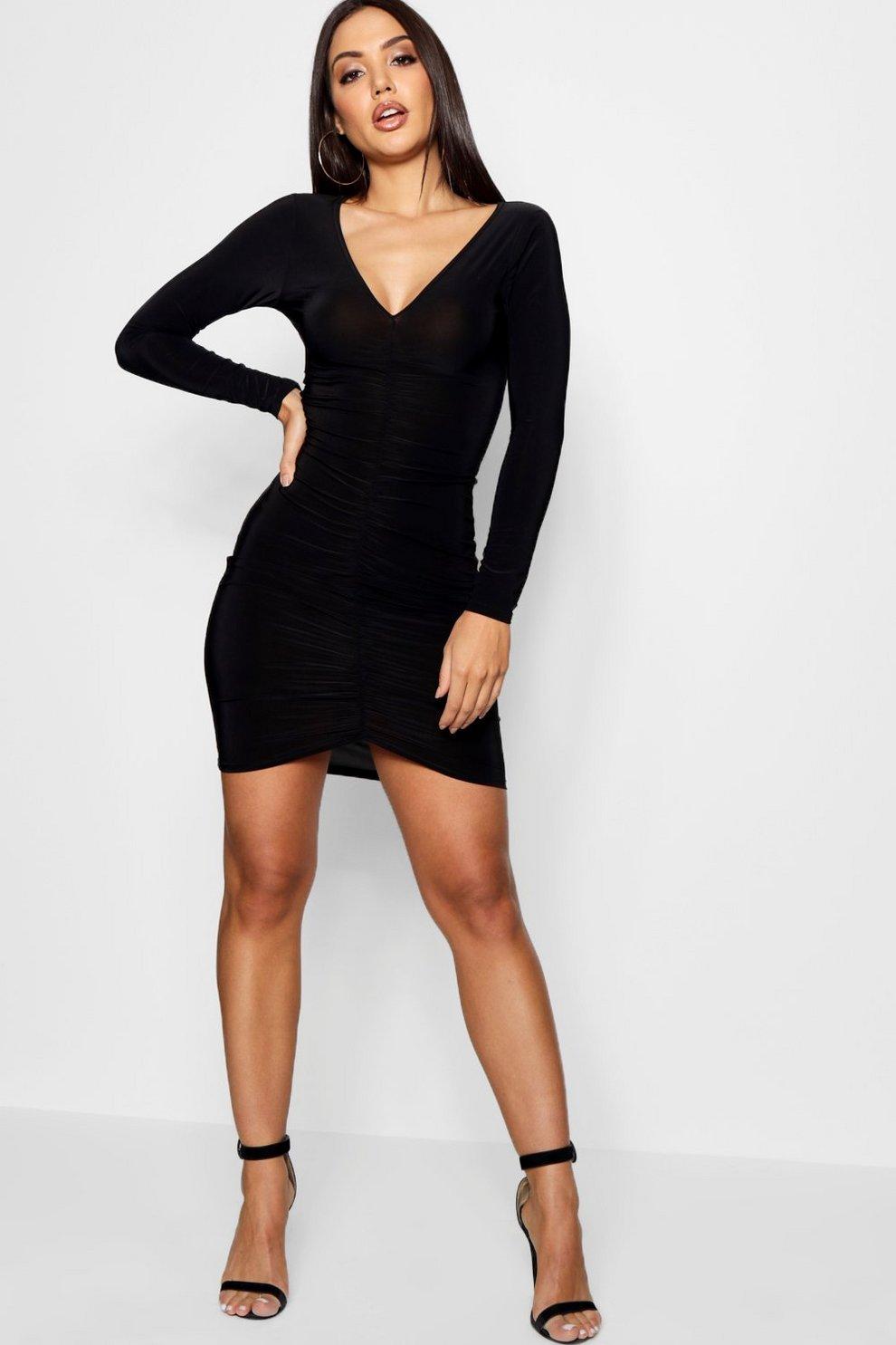 e42d4f65f34b Womens Black Slinky Ruched Long Sleeve Bodycon Dress