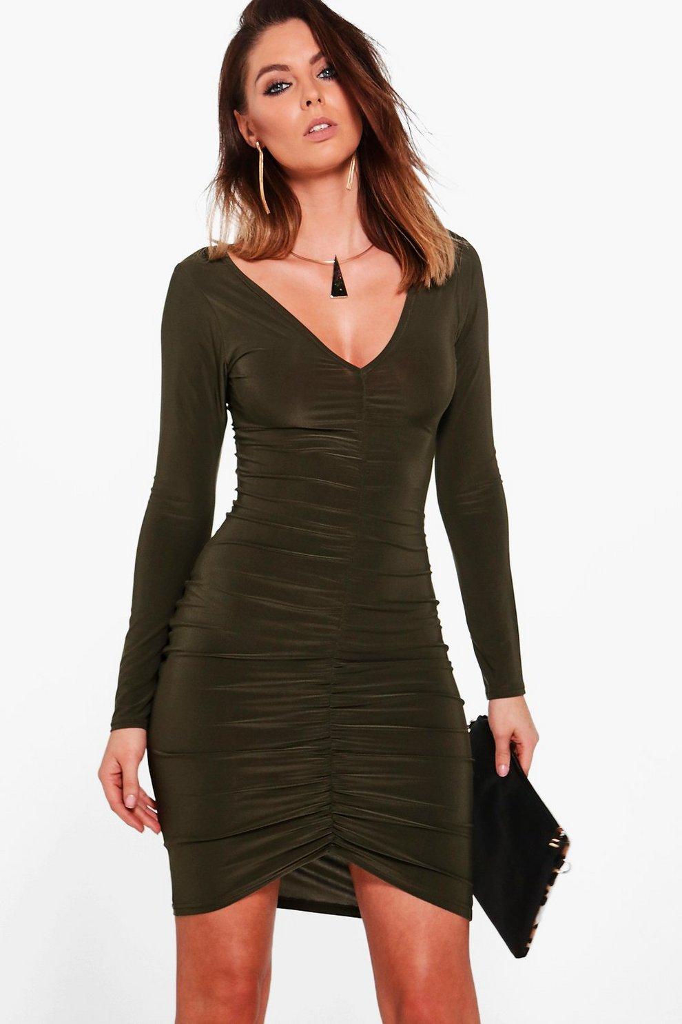 6bff304ca8ea Slinky Ruched Long Sleeve Bodycon Dress | Boohoo