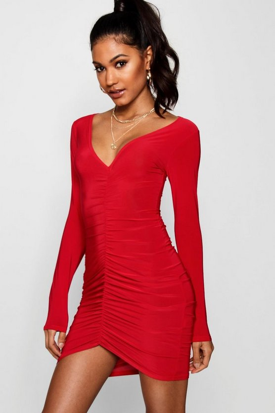 Slinky Ruched Long Sleeve Bodycon Dress