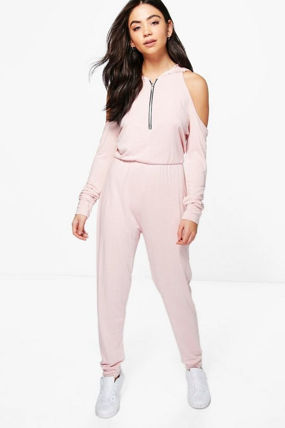 Nude Jenny Cold Shoulder Hooded Jumpsuit
