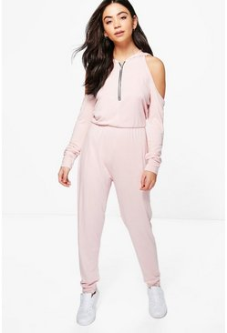 Jenny Cold Shoulder Hooded Jumpsuit, Телесный, Женские