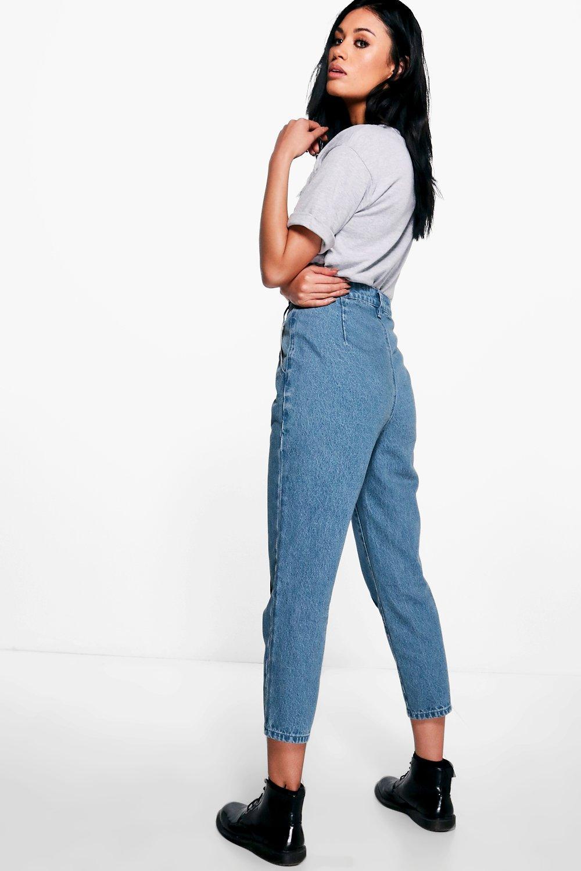 Mom Azul costuras estilo Sophie de medio Jeans delante qA8w68
