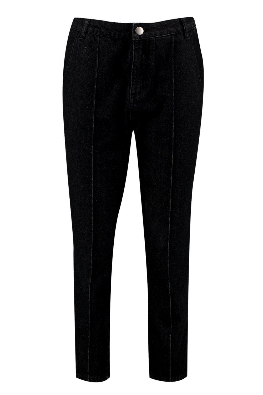 costuras Mom estilo negro de delante Jeans qxtgn5w0qC
