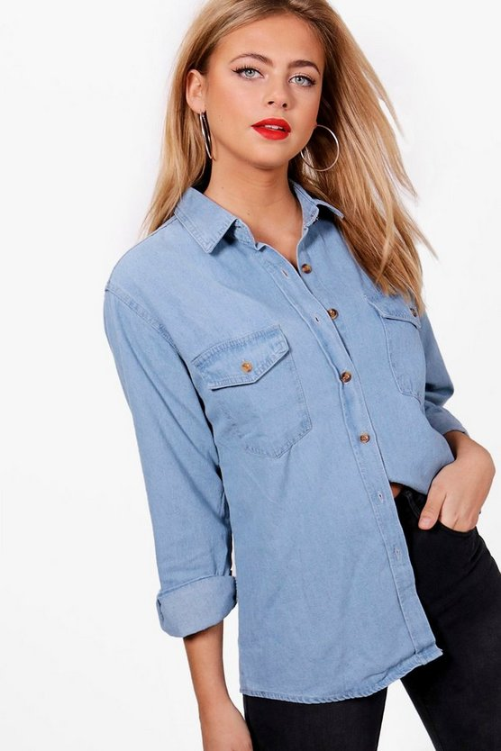 Womens Blue Oversize Denim Shirt