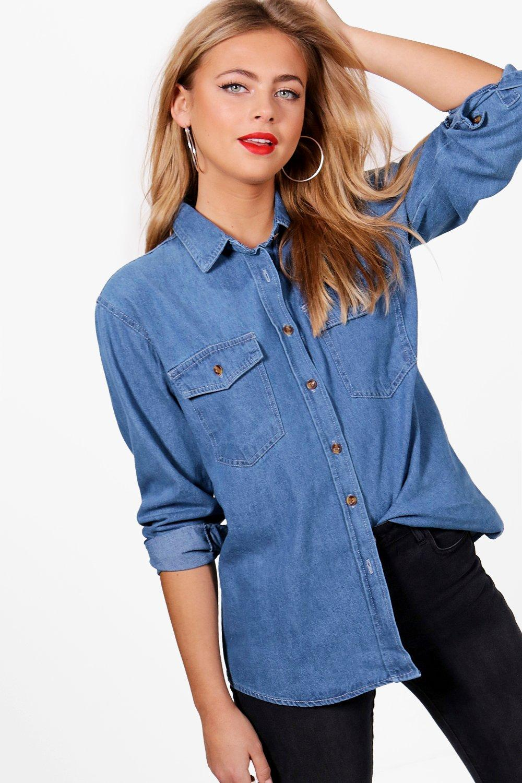 medio Azul extragrande Camisa denim Camisa denim IgwqXBYx