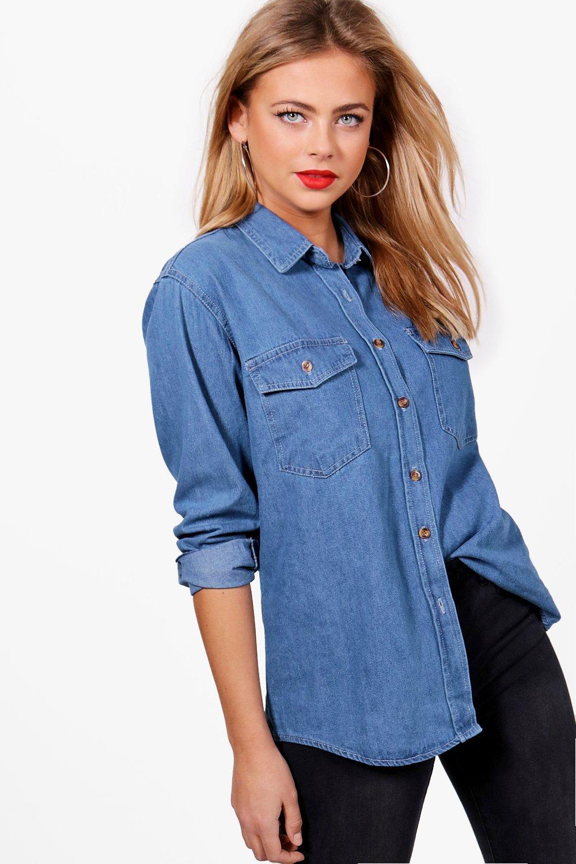 denim medio extragrande Azul Camisa denim Azul Camisa extragrande medio tqqFR