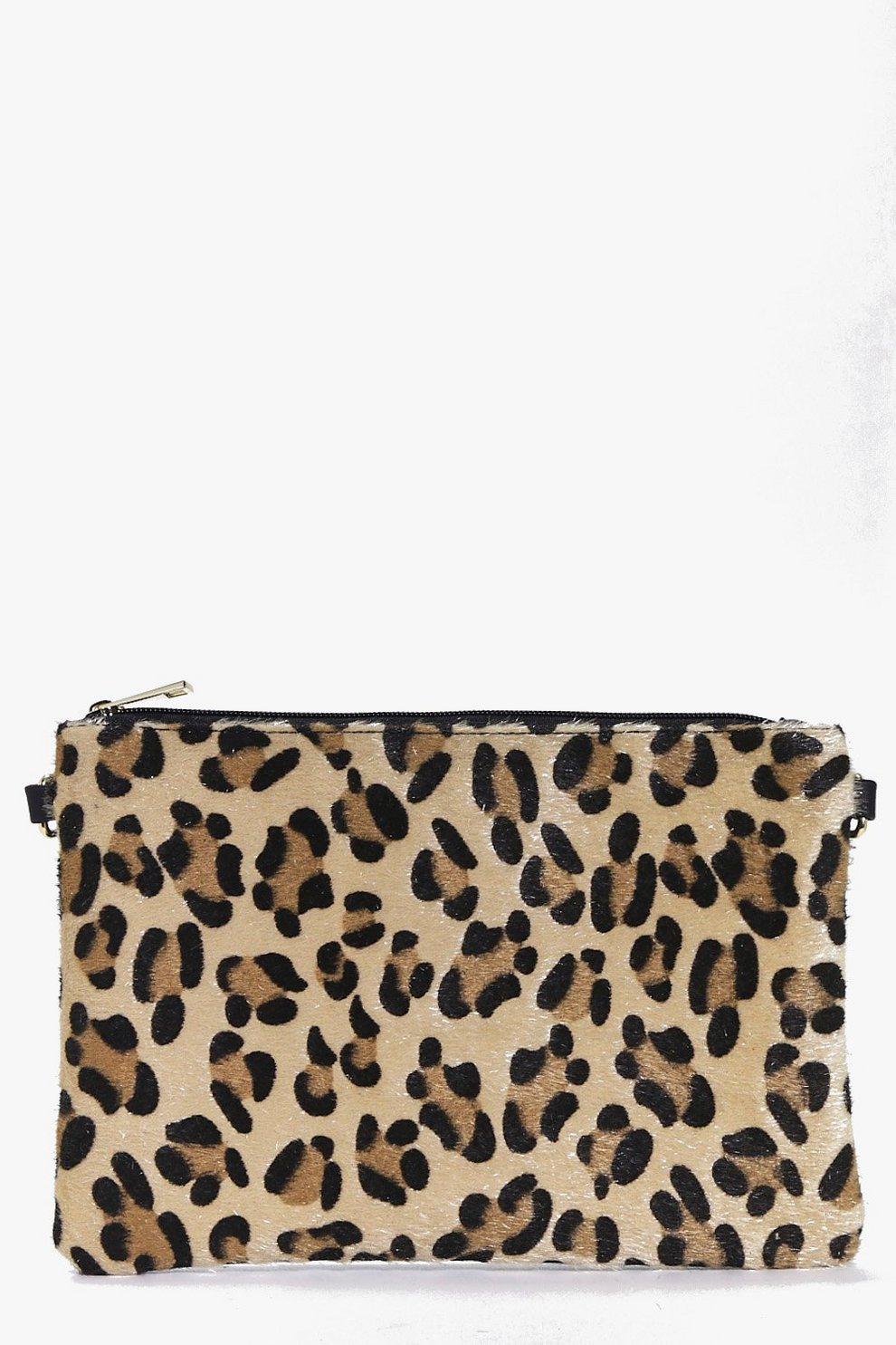 f01d638c2822 Heidi Faux Leopard Pony Clutch Bag