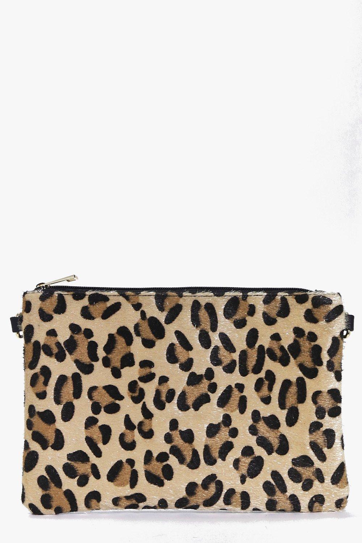 84ad0b7700 Heidi Faux Leopard Pony Clutch Bag   Boohoo