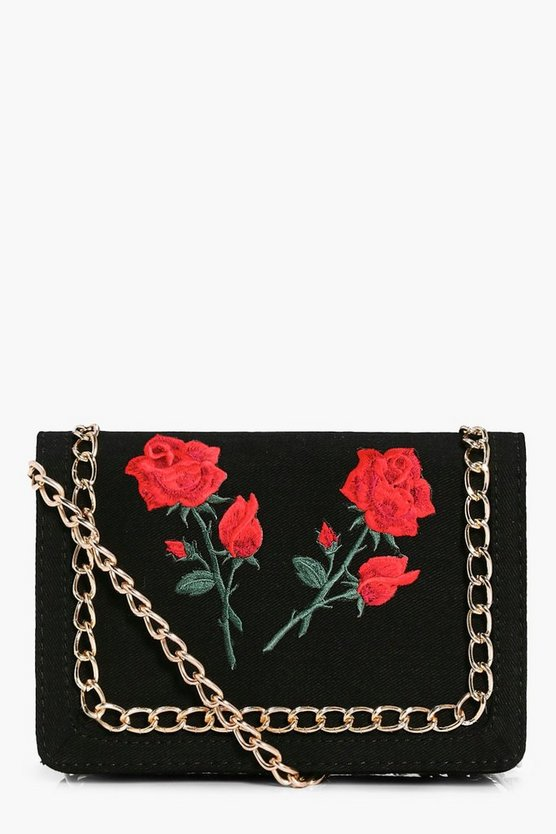 Floral Patch Chain Trim Cross Body Bag