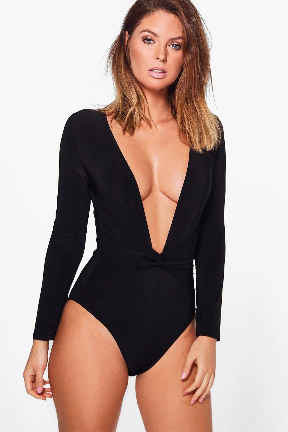 3a84553112 Nadia Deep V Neck Long Sleeve Bodysuit