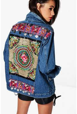 Womens Dark blue Embellished Denim Festival Jacket