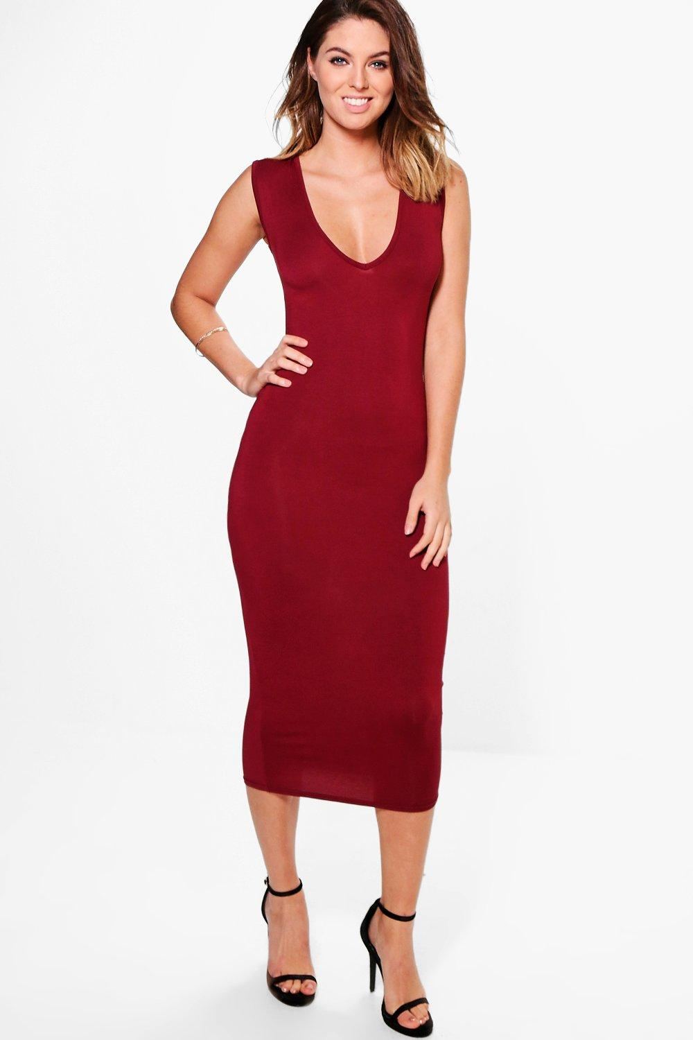 Arianne Plunge Neck Bodycon Midi Dress. Hover to zoom 8dcc8375f
