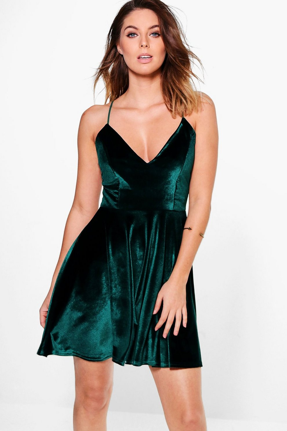 6ed7830f0c769 Paige Cross Over Strappy Skater Dress | Boohoo