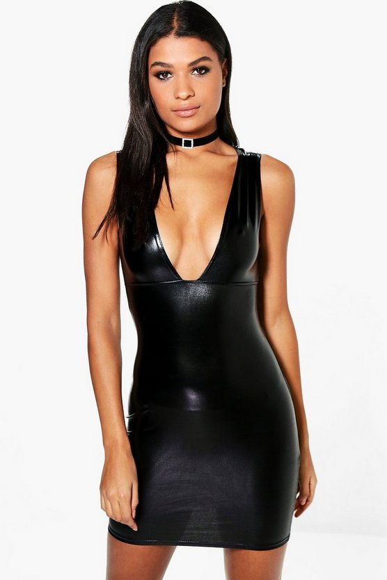 Ola Silver Foil Plunge Bodycon Dress
