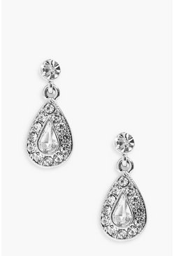 Womens Silver Diamante Tear Drop Earrings