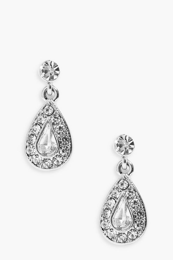 Womens Silver Bridal Diamante Tear Drop Earrings