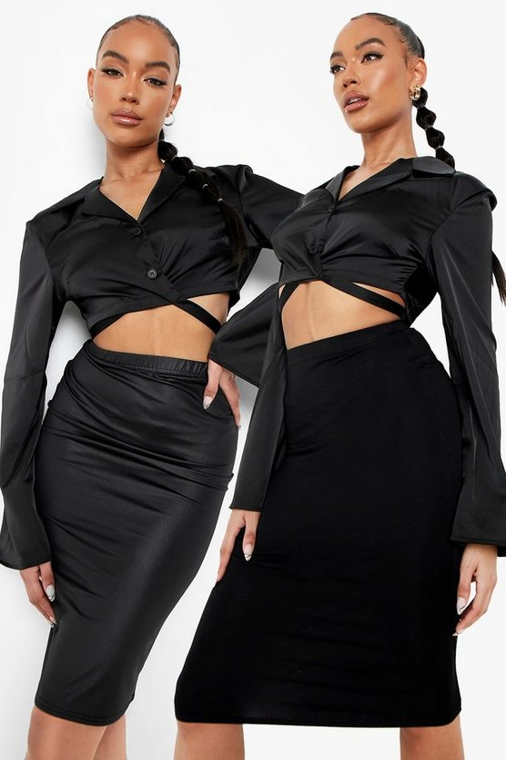 Womens Black 2 Pack Leather Look And Jersey Midi Skirt