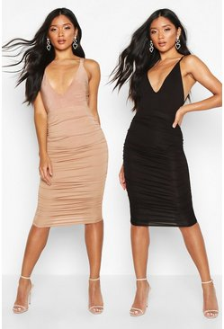 Womens Multi 2 Pack Rouched Side Jersey Midi Skirt