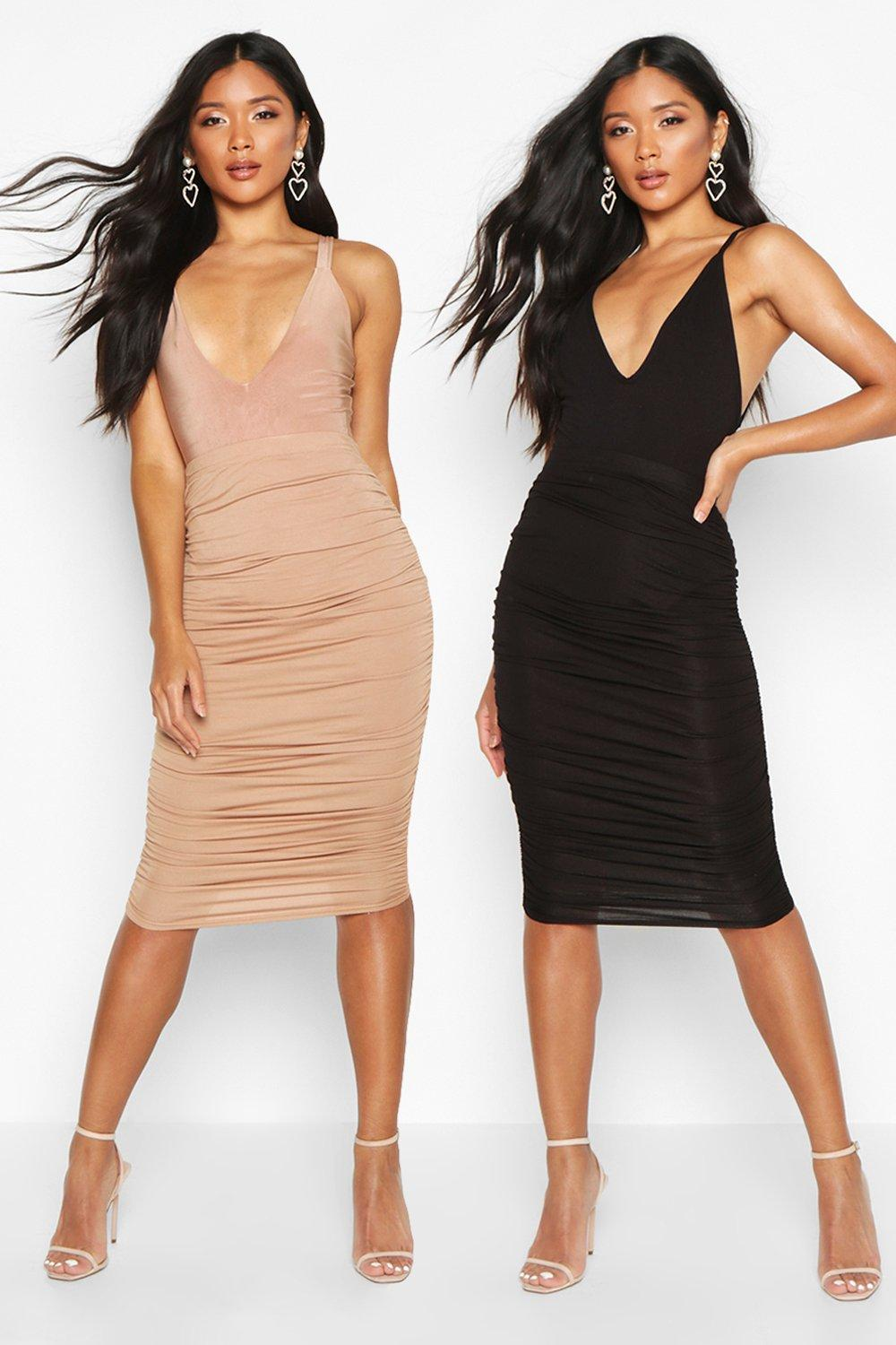 2 Pack Rouched Side Jersey Midi Skirt   Boohoo 67a31b5a78