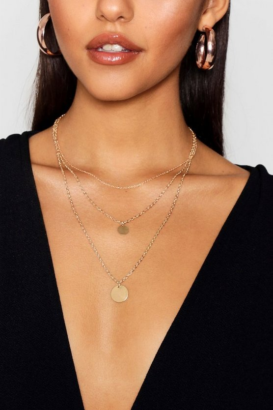 Gold Triple Layer Coin Pendant Necklace