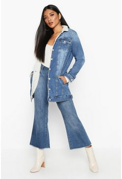 Womens Mid blue Borg Longline Denim Jacket