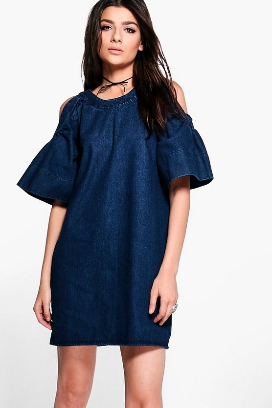 Emma Tie Back Cold Shoulder Denim Dress