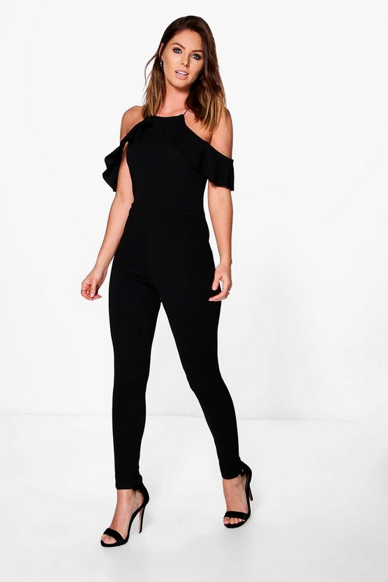 Womens Black Jen Cold Shoulder Frill Sleeve Skinny Leg Jumpsuit