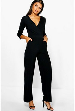 Womens Black Roll Sleeve Relaxed Wide Leg Jumpsuit