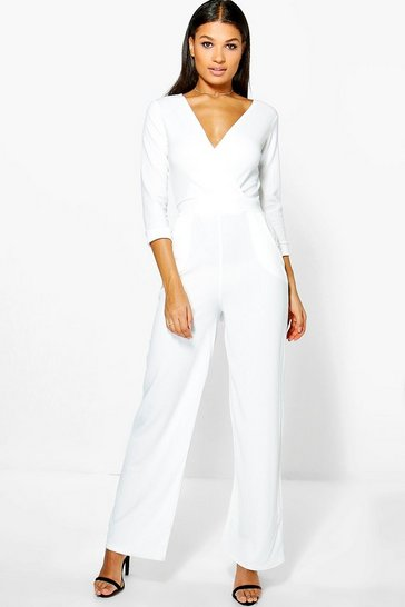 Womens Ivory Roll Sleeve Relaxed Wide Leg Jumpsuit
