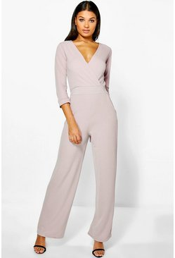 Stone Roll Sleeve Relaxed Wide Leg Jumpsuit