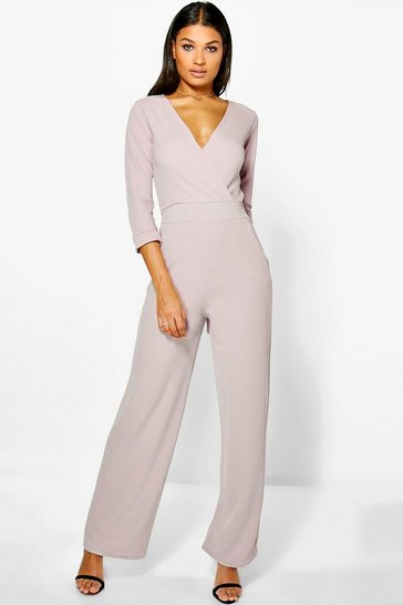 Womens Stone Roll Sleeve Relaxed Wide Leg Jumpsuit