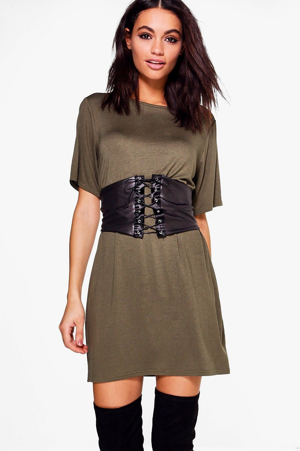 f28166a33257 2 in 1 Corset Belt T-Shirt Dress | Boohoo
