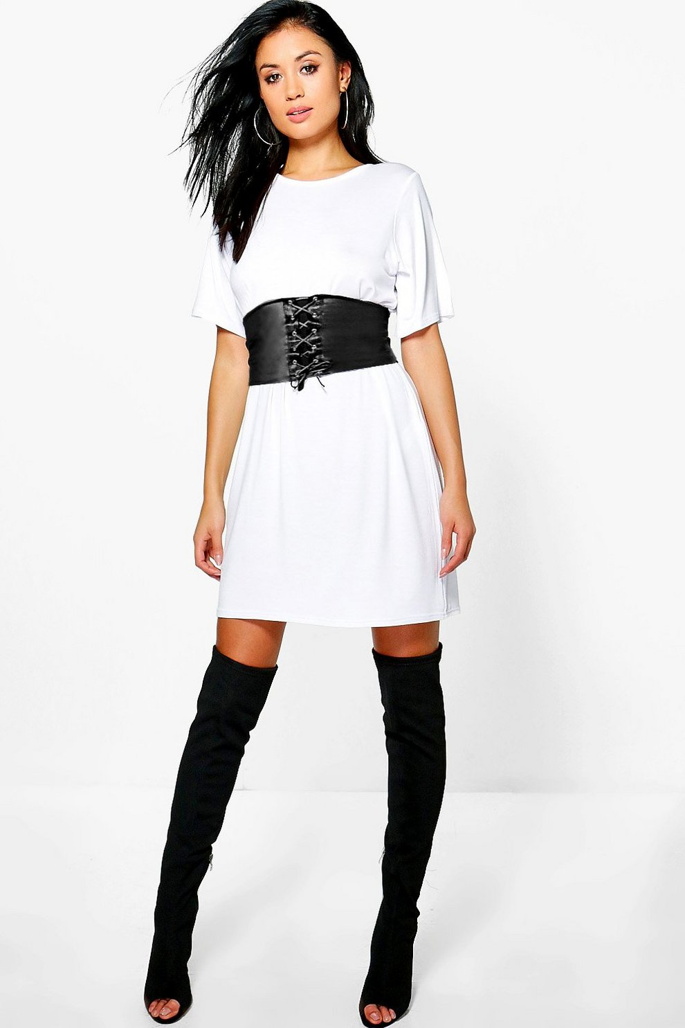 65e1c902f611 Womens White 2 in 1 Corset Belt T-Shirt Dress