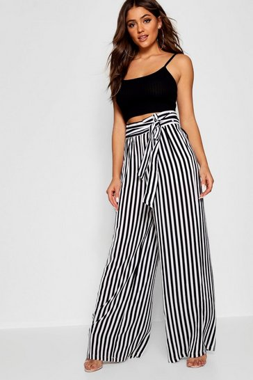 Womens Black Tie Waist Striped Wide Leg Trousers