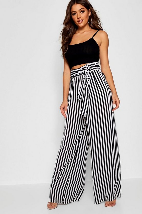 Womens Black Tie Waist Striped Wide Leg Pants