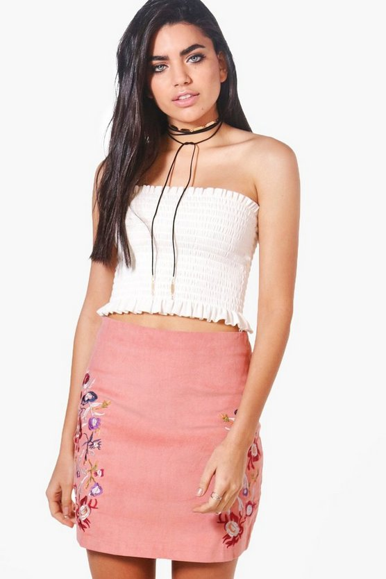 Embroidered Cord A Line Skirt