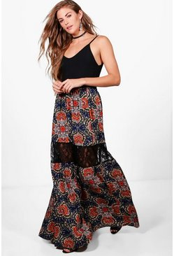 Womens Livi Floral Lace Tiered Maxi Skirt