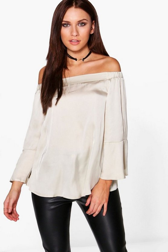 Womens Stone Lisa Satin Flute Sleeve Bardot Top