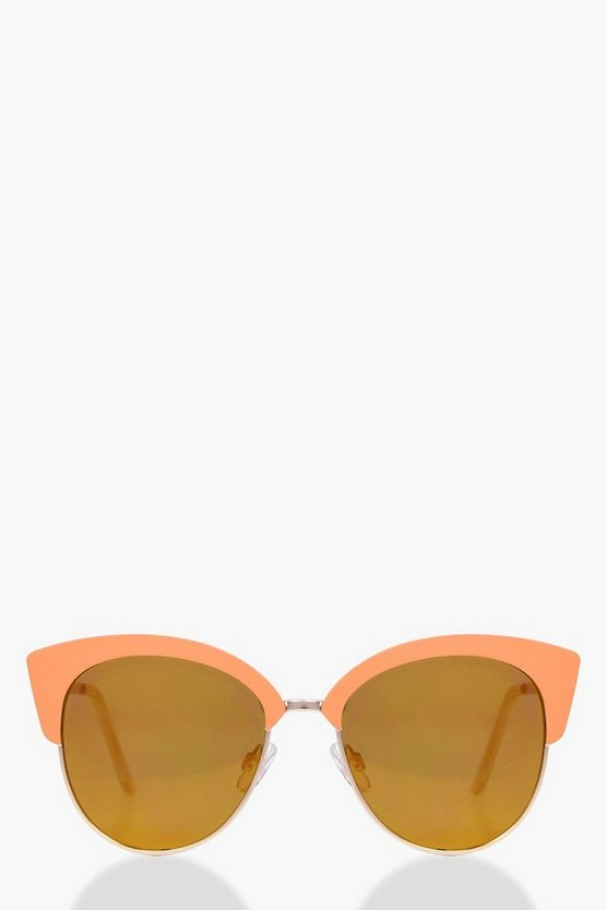 Contrast Enamel Cat Eye Sunglasses
