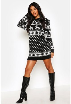 Black Reindeers & Snowflake Christmas Jumper Dress