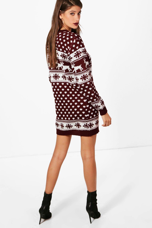 boohoo lottie robe pull de no l rennes et flocons de neige pour femme ebay. Black Bedroom Furniture Sets. Home Design Ideas