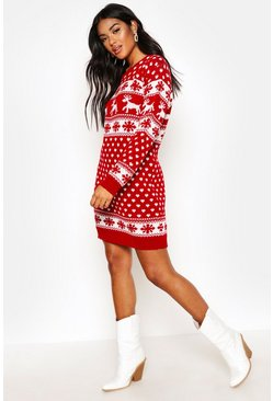 Womens Red Reindeers & Snowflake Christmas Jumper Dress
