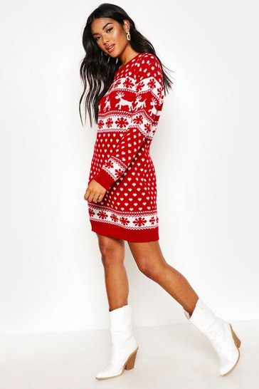 Red Reindeers & Snowflake Christmas Jumper Dress
