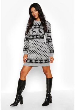 Womens Silver Reindeers & Snowflake Christmas Sweater Dress