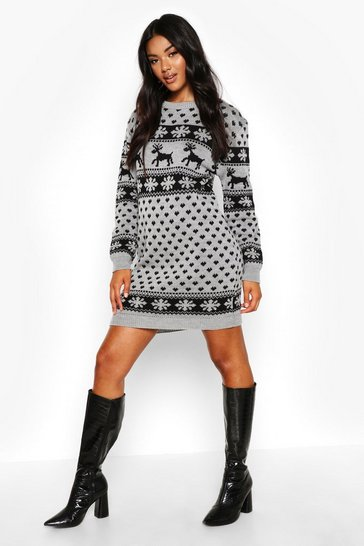 Womens Silver Reindeers & Snowflake Christmas Jumper Dress
